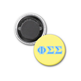 Phi Sigma Sigma Blue Letters 1 Inch Round Magnet