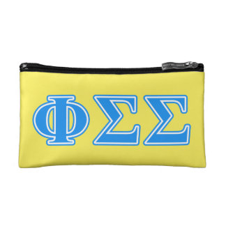 Phi Sigma Sigma Blue Letters Cosmetic Bag