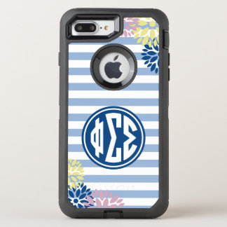Phi Sigma Sigma | Monogram Stripe Pattern OtterBox Defender iPhone 8 Plus/7 Plus Case
