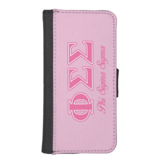 Phi Sigma Sigma Pink Letters iPhone 5 Wallet Cases