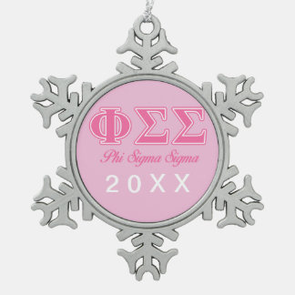 Phi Sigma Sigma Pink Letters Snowflake Pewter Christmas Ornament