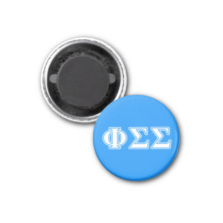 Phi Sigma Sigma White and Blue Letters 1 Inch Round Magnet