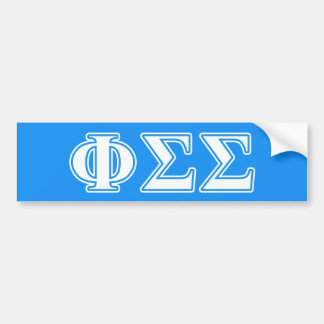 Phi Sigma Sigma White and Blue Letters Bumper Sticker