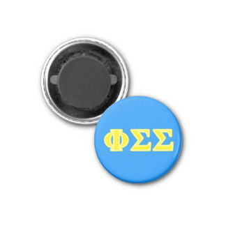 Phi Sigma Sigma Yellow Letters 1 Inch Round Magnet