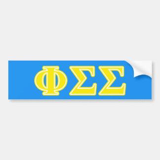 Phi Sigma Sigma Yellow Letters Bumper Sticker