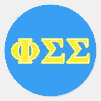 Phi Sigma Sigma Yellow Letters Classic Round Sticker