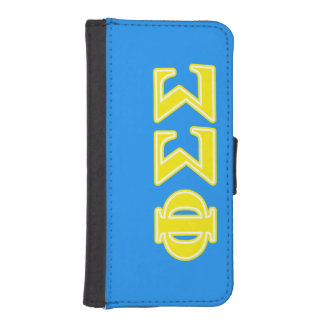 Phi Sigma Sigma Yellow Letters iPhone 5 Wallet Cases