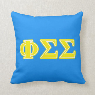 Phi Sigma Sigma Yellow Letters Throw Pillow