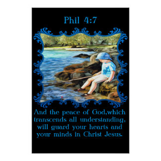 Phil 4:7 Baby boy fishing in the river. Poster