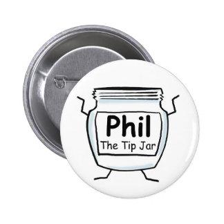 Phil el botón del tarro de la extremidad pin redondo de 2 pulgadas