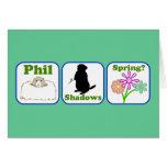 Phil, sombras, primavera felicitación