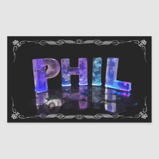 Phil  - The Name Phil in 3D Lights (Photograph) Rectangular Sticker