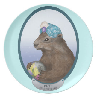 Phil the Psychic Groundhog Predicts the Future Melamine Plate