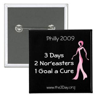 Philadelphia 2009 botón de 3 días pin cuadrado
