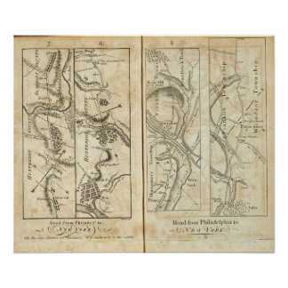 Philadelphia al mapa de camino de Nueva York 2 Póster