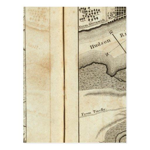 Philadelphia al mapa de camino de Nueva York Tarjetas Postales