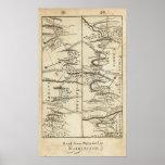 Philadelphia al mapa de camino de Washington Posters