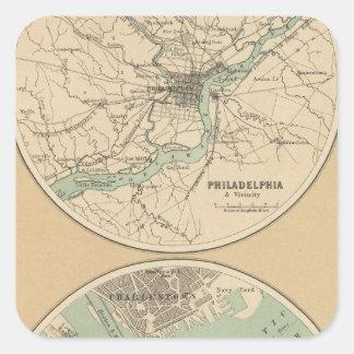 Philadelphia and Boston Square Sticker