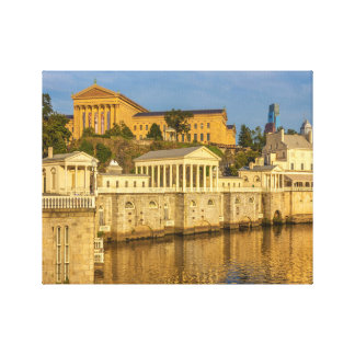 Philadelphia Art Museum and the Water Works Small Canvas Print
