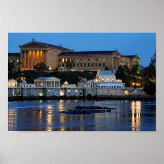 Philadelphia Art Museum at Night Schuylkill River Poster