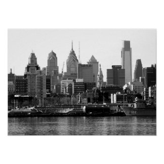 Philadelphia Black & White Skyline Print