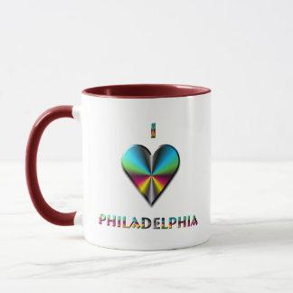 Philadelphia -- Blue Green & Burgundy Mug
