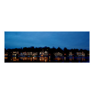 Philadelphia - Boat House Row nightlight panoramic Poster