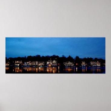 nwillens Philadelphia - Boat House Row nightlight panoramic Poster