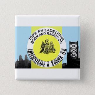 Philadelphia born and raised pinback button