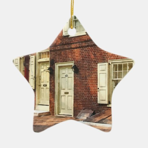 Philadelphia Brownstone' Double-Sided Star Ceramic Christmas Ornament