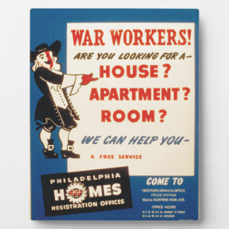 Philadelphia can Help War Workers Find Housing Photo Plaques