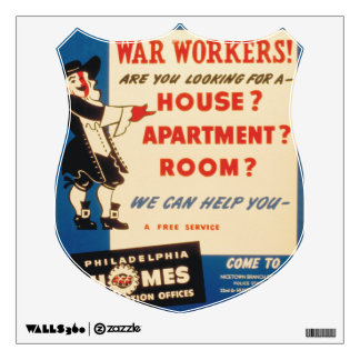 Philadelphia can Help War Workers Find Housing Wall Sticker