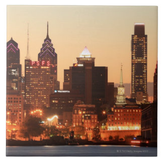 Philadelphia céntrica, Pennsylvania en la puesta d Azulejo Cuadrado Grande