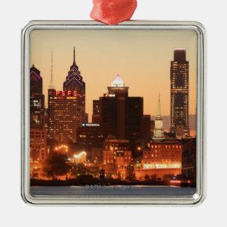 Philadelphia céntrica, Pennsylvania en la puesta Adorno Cuadrado Plateado