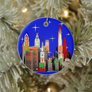 Philadelphia Christmas, add text Ceramic Ornament