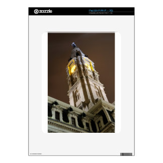 Philadelphia City Hall Clock Tower At Night Skin For The iPad
