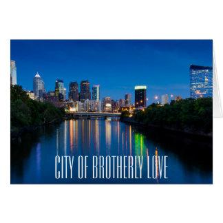 Philadelphia City Skyline at Night Greeting Card