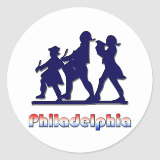Philadelphia colonial etiqueta redonda