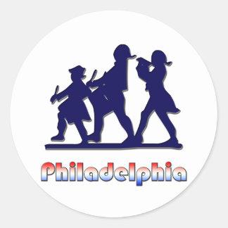 Philadelphia colonial pegatina redonda