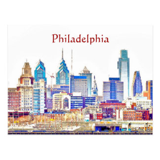 Philadelphia Color Sketch Postcard