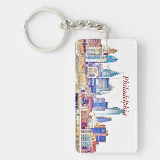 Philadelphia Color Sketch Skyline Rectangle Key Ch Keychain