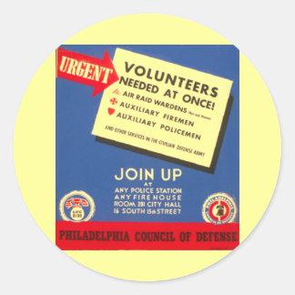 Philadelphia Council Of Defense Classic Round Sticker