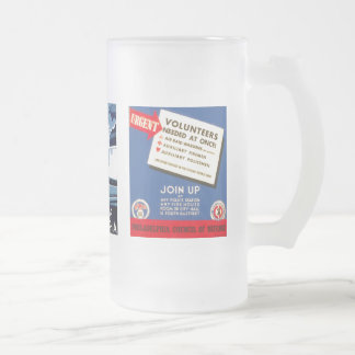 Philadelphia Council Of Defense Frosted Glass Beer Mug