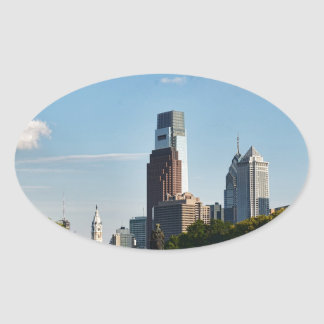 Philadelphia downtown 2 oval sticker