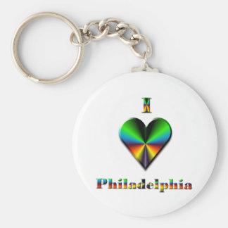 Philadelphia -- Green Blue & Orange Basic Round Button Keychain