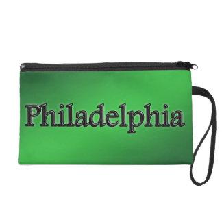 Philadelphia - Grey Letters - On Green Wristlet Clutches