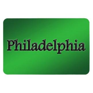Philadelphia - Grey Letters - On Green Magnet