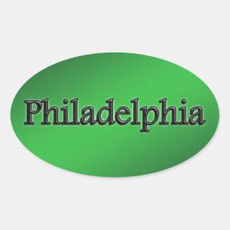 Philadelphia - Grey Letters - On Green Oval Sticker