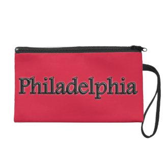 Philadelphia - Grey Letters - On Red Wristlet Clutch