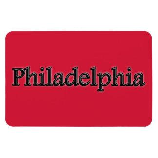 Philadelphia - Grey Letters - On Red Magnet